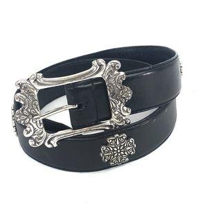 FOSSIL Leather belt silver medallion embellished